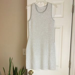 NWOT gray and white striped dress